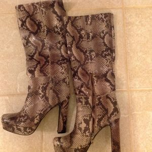 Knee High Faux Snakeskin Boots